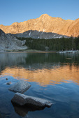 14,037-foot Little Bear Peak reflected in Lake Como at sunset, Sangre de Cristo Wilderness, Colorado