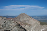 Wind-warped cumulus cloud over the summit of Mt. Lindsey from the summit of 14,042-foot Ellingwood Peak, Sangre de Cristo Wilderness, Colorado