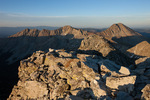 Ute Peak and Mt. Lindsey from the summit of 14,042-foot Ellingwood Peak at sunset, Sangre de Cristo Wilderness, Colorado