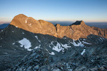 Blanca Peak and LIttle Bear Peak from the summit of 14,042-foot Ellingwood Peak at sunset, Sangre de Cristo Wilderness, Colorado