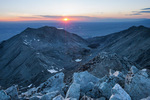 Looking down the valley of South Zapata Creek toward the San Luis Valley from the summit of 14,042-foot Ellingwood Peak at sunset, Sangre de Cristo Wilderness, Colorado