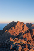 Crestone Peak from the summit of 14,197-foot Crestone Needle at sunrise, Sangre de Cristo Wilderness, Colorado