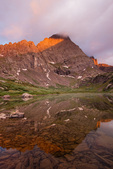 Crestone Needle reflected in South Colony Lake at sunrise, Sangre de Cristo Wilderness, Colorado