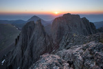 Looking east toward the eastern summit of Crestone Peak from the western (true) summit of 14,294-foot Crestone Peak at sunrise, Sangre de Cristo Wilderness, Colorado