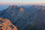 Kit Carson Peak and the northern peaks of the Sangre de Cristo Range from the summit of 14,294-foot Crestone Peak at sunrise, Sangre de Cristo Wilderness, Colorado