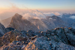 Crestone Needle and the southern peaks of the Sangre de Cristo Range from the summit of 14,294-foot Crestone Peak at sunrise, Sangre de Cristo Wilderness, Colorado