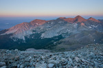 Little Bear Peak, Blanca Peak, and Ellingwood Peak from the summit of 14,042-foot Mt. Lindsey at sunrise, Sangre de Cristo Wilderness, Colorado