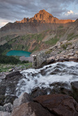 Mt. Sneffels and a waterfall above Blue Lake, Mt. Sneffels Wilderness, Colorado