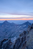 Wilson and Gladstone Peaks from the summit of 14,159-foot El Diente at sunrise, Lizard Head Wilderness, Colorado