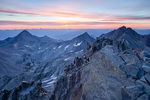 Wilson and Gladstone Peaks and Mt. Wilson from the summit of 14,159-foot El Diente at sunrise, Lizard Head Wilderness, Colorado