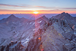 Wilson and Gladstone Peaks and Mt. Wilson from the summit of 14,159-foot El Diente at sunrise, Lizard Head Wilderness, Colorado
