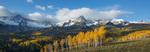 Peak 13,134 and aspen in fall color, Sneffels Range, San Juan Mountains, Colorado