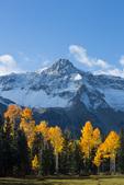 Mears Peak and aspen in Box Factory Park, Sneffels Range, San Juan Mountains, Colorado