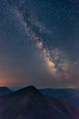 The Milky Way over 14,270-foot Grays Peak, seen from the summit of 14,267-foot Torreys Peak, near Georgetown, Colorado