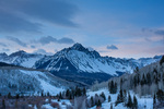 Mt. Sneffels at sunrise from County Road 7 in winter, Mt. Sneffels Wilderness, San Juan  Mountains, Uncompahgre National Forest, Colorado