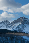 Cirque Mountain and TeaKettle Mountain from County Road 7 in winter, Mt. Sneffels Wilderness, San Juan  Mountains, Uncompahgre National Forest, Colorado
