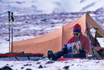 Roanne Miller, 12-gauge shotgun, and Vogue, Grizzly Pass, near Mt. Sanford, Wrangell-St. Elias National Park, Alaska