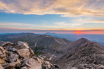 Looking northeast toward Beaubien Peak and the Spanish Peaks at sunrise from the summit of Culebra Peak, Sangre de Cristo Mountains, Colorado