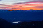 The Mosquito Range and Twin Lakes from the summit of La Plata Peak at sunrise, San Isabel National Forest, Colorado