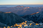 The southernmost peaks of the Sawatch Range from the summit of Tabeguache Peak at sunrise, San Isabel National Forest, Colorado