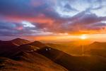 Stewart Peak, Baldy Alto, and Organ Mountain at sunrise from the summit of San Luis Peak, La Garita Wilderness, Colorado