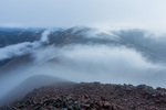 Mist and clouds over Redcloud Peak from the summit of Sunshine Peak, Redcloud Peak Wilderness Study Area, Colorado