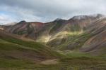 The valley of Silver Creek, seen from the summit ridge of Redcloud Peak,  Redcloud Peak Wilderness Study Area, Colorado