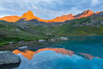 Vermilion Peak and Pilot Knob reflected in Ice Lake at sunrise, San Juan National Forest, Colorado