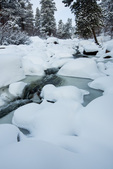 The Big Thompson River just below Moraine Park after a spring snow, Rocky Mountain National Park, Colorado