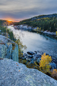 Cameron River below Cameron Falls at sunset, along the Ingraham Trail near Yellowknife, Northwest Territory, Canada