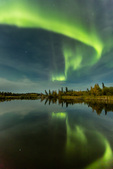 Aurora over beaver pond at Powder Point, Hidden Lake Territorial Park, along the Ingraham Trail near Yellowknife, Northwest Territory, Canada