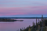 Prelude Lake at sunset from the Panorama Trail, Prelude Lake Territorial Park, along the Ingraham Trail near Yellowknife, Northwest Territory, Canada