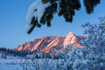 The Flatirons from Chautauqua after a February snow, Boulder Mountain Parks, Colorado