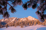 The Flatirons from Chautauqua after a March snow, Boulder Mountain Parks, Colorado