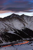 Highway over Loveland Pass and Grays and Torreys Peaks, Colorado