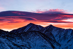 Lenticular clouds over Grays and Torreys Peaks from knoll above Loveland Pass, Colorado