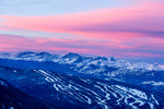 Sunrise over Keystone, Breckenridge, and the Tenmile Range from knoll above Loveland Pass, Colorado