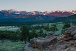 Longs Peak, the Continental Divide, and Beaver Meadows at sunrise, Rocky Mountain National Park, Colorado