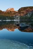Hallett Peak reflected in Bear Lake at sunrise, Rocky Mountain National Park, Colorado