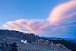 Lenticular clouds at sunset over the foothills from Timberline Pass, Rocky Mountain National Park, Colorado