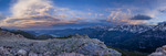 Panorama of Longs Peak and Timberline Pass at sunset, Rocky Mountain National Park, Colorado