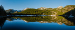 Panorama of Longs Peak, Glacier Gorge and Hallett Peak from Bear Lake, Rocky Mountain National Park, Colorado