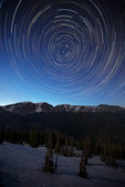 Star trails over the Mummy Range from Trail Ridge Road near Rainbow Curve, Rocky Mountain National Park, Colorado