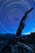 Star trails over Ypsilon Mountain, Rocky Mountain National Park, Colorado