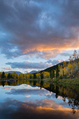 Sunset in late September at a beaver pond near the south Mt. Elbert trailhead, San Isabel National Forest, Colorado