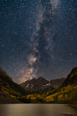 The Milky Way over the Maroon Bells and Maroon Lake, Maroon Bells-Snowmass Wilderness, Colorado