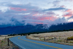 Stormy sunrise over the Sangre de Cristo Range from the road leading to Great Sand Dunes National Park, Colorado