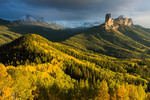 Courthouse Mountain and Chimney Rock from Cimarron Ridge, San Juan Mountains, Uncompahgre National Forest, Colorado