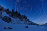 Star trails over the Saber, the Petite Grepon, the Sharkstooth and Sky Pond, Rocky Mountain National Park, Colorado