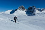 Gordon Maclean skiing beneath Mt. Monolith, Tombstone Territorial Park, Yukon Territory, Canada